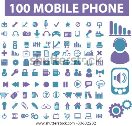 100 mobile phone icons, illustrations, vector - stock vector