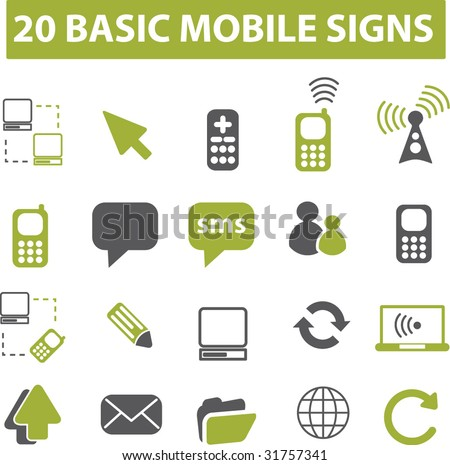 20 mobile signs. vector. green series.