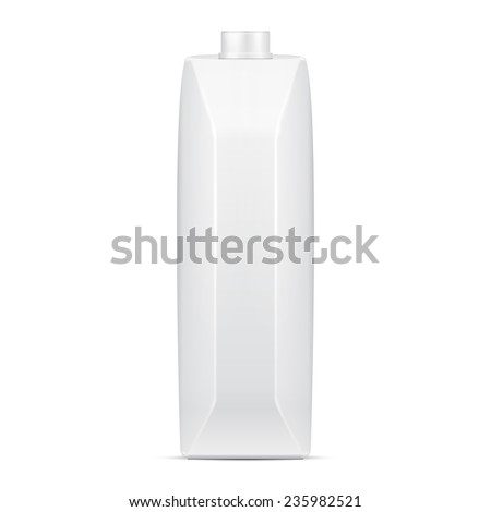 Mock Up Juice Milk Carton Packages Blank White. Illustration Isolated On White Background. Ready For Your Design. Vector EPS10 - stock vector