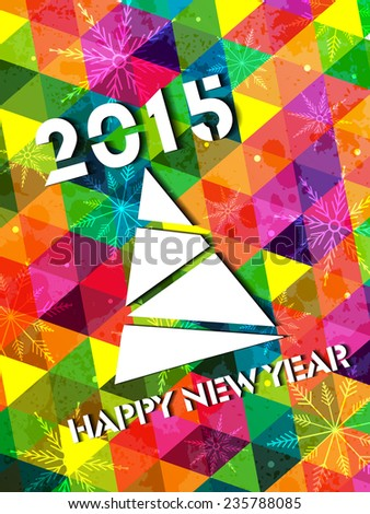 2015 Modern Abstract triangle colorful grungy Christmas and New Year background with Christmas Tree made of cutout paper snowflakes - stock vector