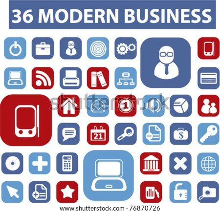 36 modern business buttons, icons, signs, vector illustrations - stock vector