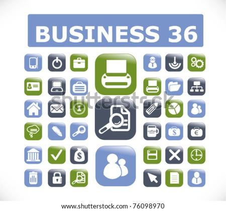 36 modern business glossy 3d buttons, vector - stock vector