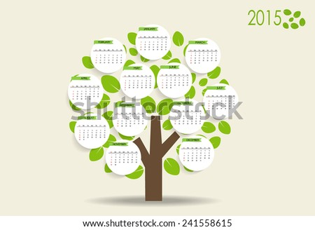 2015 modern calendar with nature background