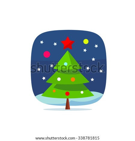 Modern christmas new year tree icon with star, snow and toys, eps10 vector illustration. New year mobile application or game icon. Postcard or greeting card print ribbon. - stock vector