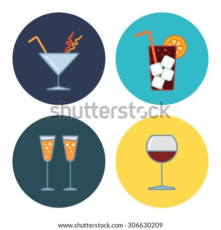 4 modern flat bar icons - stock vector