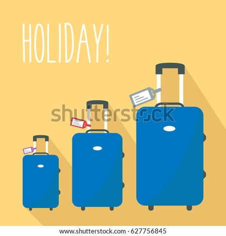 3 modern luggage for family in vacation. tag name for Travel & text - holiday. three blue suitcase vector flat design style. one big baggage & two little from smallest to largest or biggest