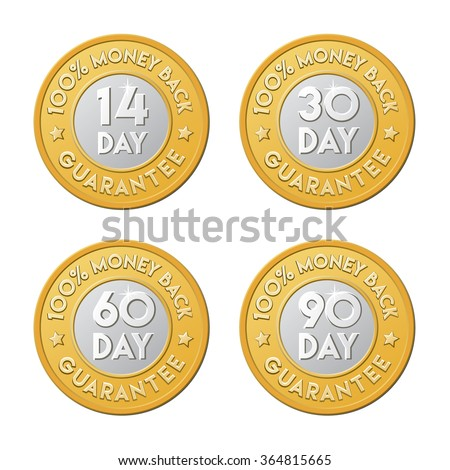 14, 30, 60, 90 money back guarantee labels. Vector signs in the form of golden coin. - stock vector