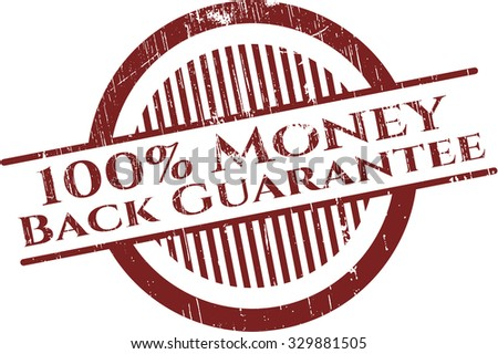 100% Money Back Guarantee rubber grunge stamp - stock vector