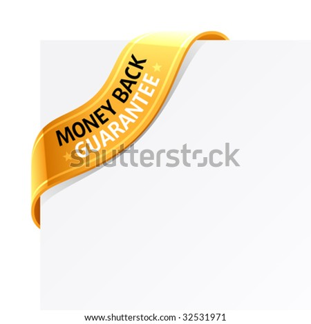"""Money back guarantee"" sign - stock vector"