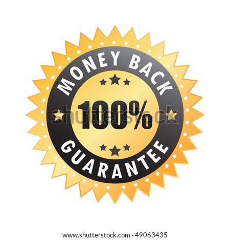 100% money back guarantee sticker - stock vector