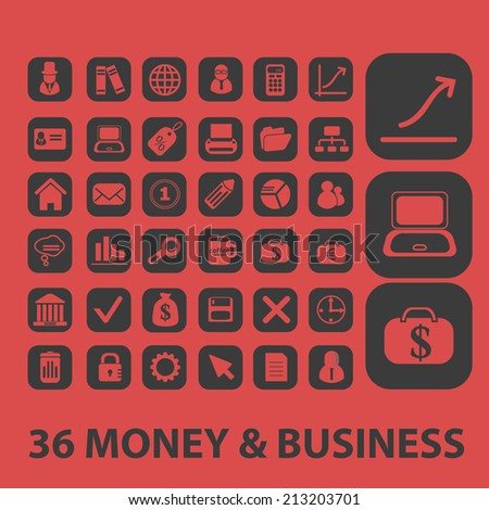 36 money, business, ecommerce isolated icons, signs, symbols, illustrations, silhouettes, vectors set - stock vector