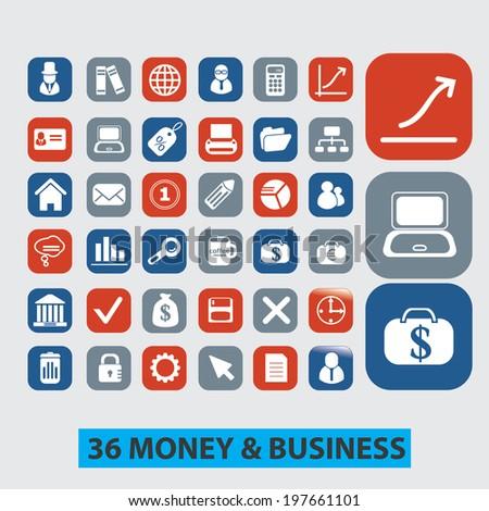 36 money, finance, business icons set, vector - stock vector