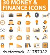 30 money & finance icons. vector. orange series. - stock vector