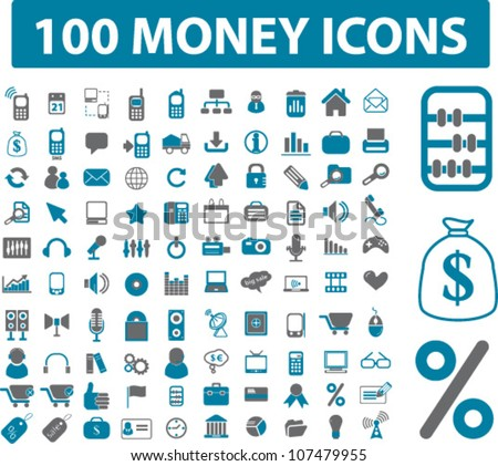 100 money & related icons set, vector - stock vector