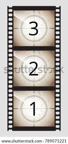 Monochrome brown grunge film movie tape countdown frame 3 2 1  Vector stock illustration.
