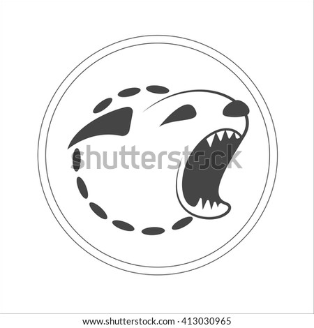 Monochrome hand drawn logotype of barking dogs head isolated on white background. Vector concept design which can be used on print, cover or tattoo design.