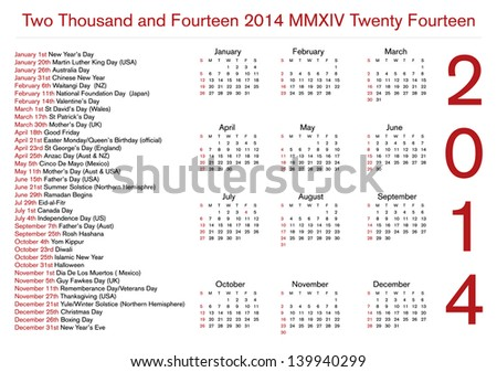 12 month 2014 calendar with holidays - stock vector