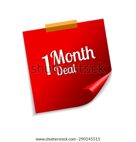 1 Month Deal Red Sticky Notes Vector Icon Design