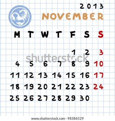 November Stamp of The Month 2013 Monthly Calendar November