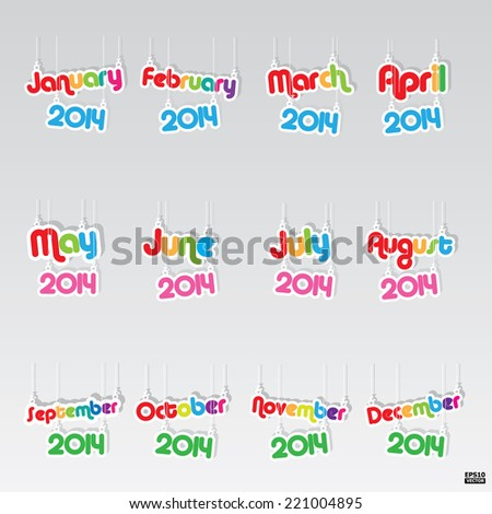 12 months paper hanging sign.eps10 vector - stock vector