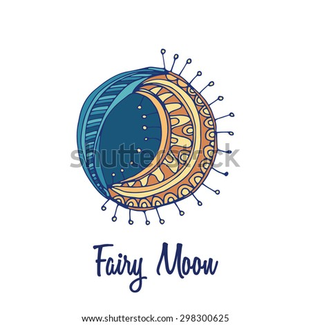 Moon logo. Hand drawn full color brand sign - stock vector