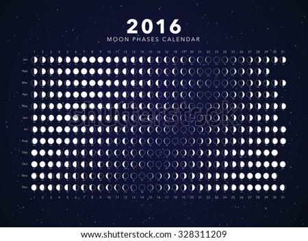 2016 moon phases calendar vector - stock vector