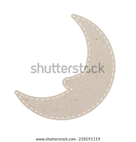 moon recycled papercraft on white paper background, vector illustration    - stock vector