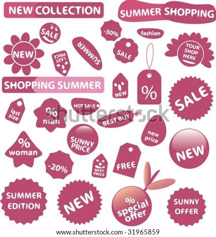 20 more pink shop stickers. vector