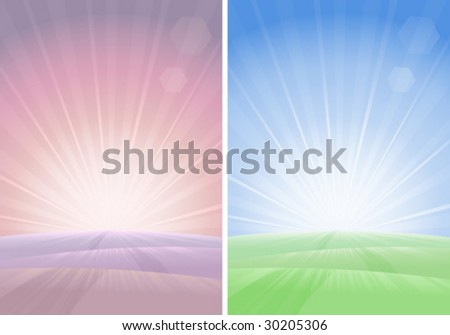 2 morning landscapes in different colors - stock vector