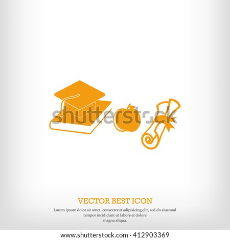 Mortar Boards, books, apple and Diploma icon - stock vector