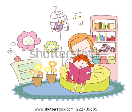 mother and daughter are reading book.  - stock vector