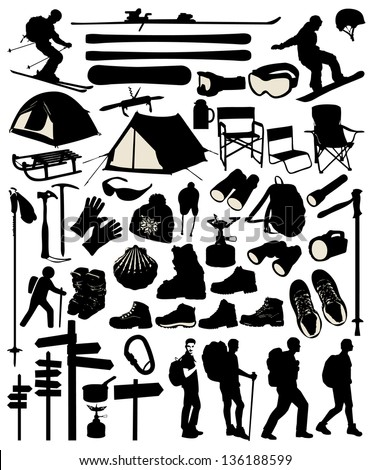 Mountain accessory set - stock vector