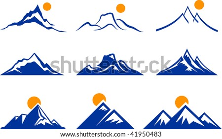 mountains icons - stock vector