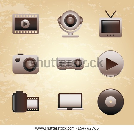 movie icon over pink background vector illustration