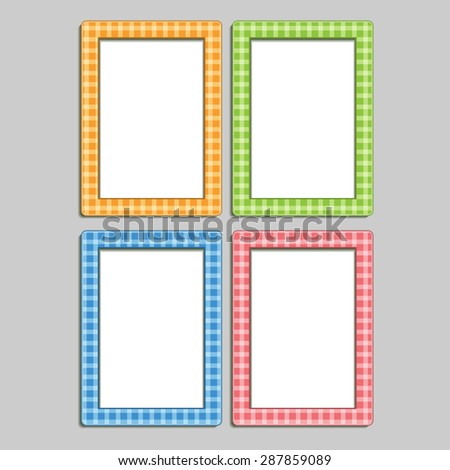 4 multi-colored children's photo frames in the box, blue, orange, red and green - stock vector