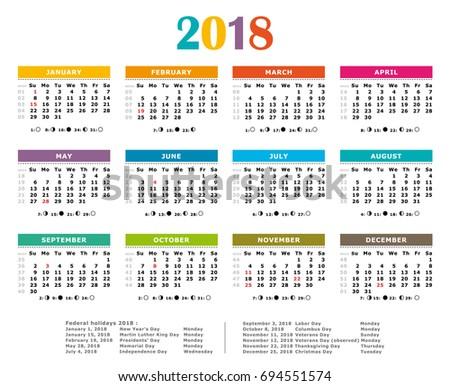 2018 Multicolored American Vector Calendar Full Year Stock Photo