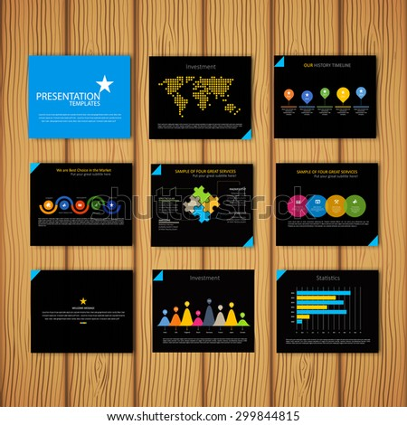 Multipurpose  template for presentation slides with graphs and charts - blue and black version. Perfect for your business report or personal use.  - stock vector