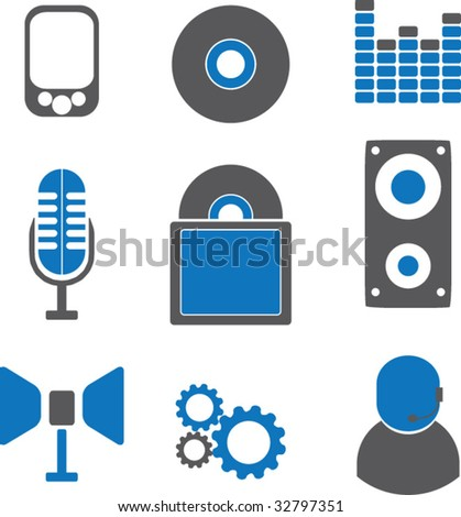 9 music icons. blue series. vector - stock vector