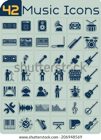 42 Music Icons Vector Set - Music themed icons of studio equipment, singers and instruments. File type: vector EPS AI8 compatible. No transparencies and no gradient fills.   - stock vector