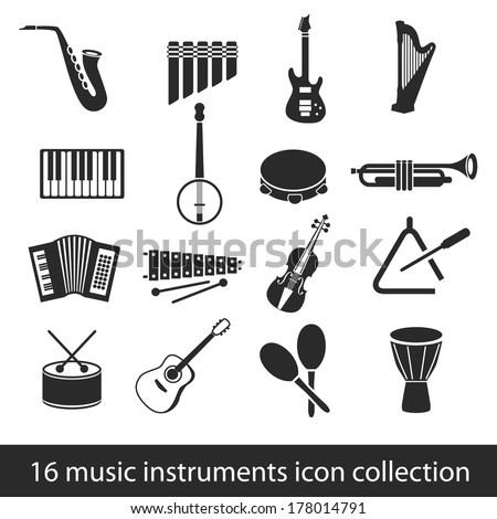 16 music instruments icon collection - stock vector