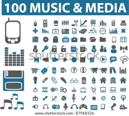 100 music & media icons, signs, vector