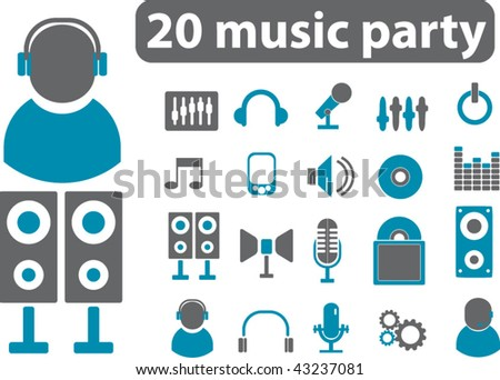 20 music party signs. vector - stock vector