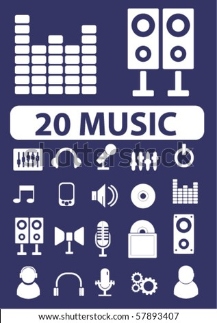 20 music signs. vector - stock vector
