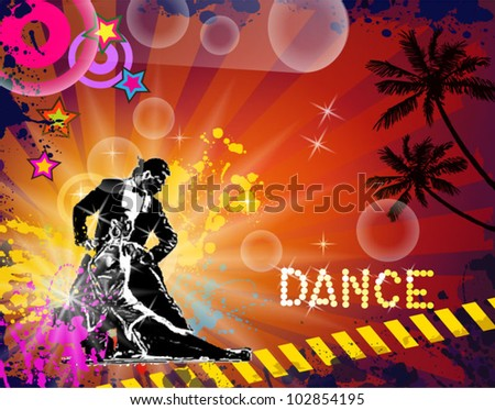 Musical themed latino dance flyer for night party or salsa exhibitions. - stock vector