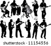 11 Musician Silhouettes - stock photo