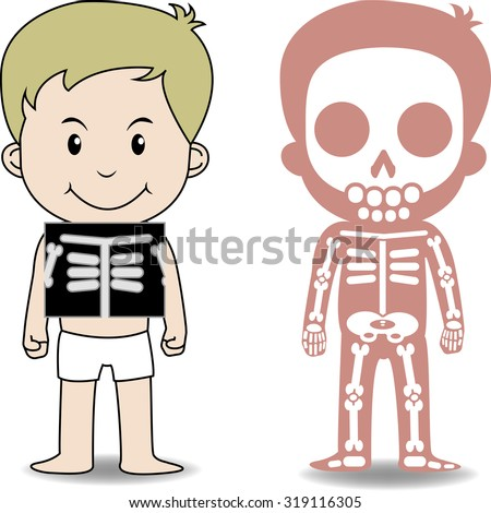 """""""My body"""", educational anatomy body organ chart for kids. Cute cartoon little boy and his skeletal system with chest x-rays - stock vector"""