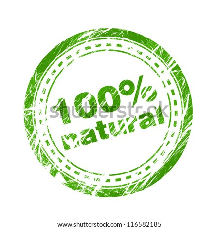 100% natural green stamp - stock vector