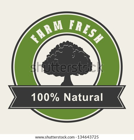 100% Natural label - stock vector