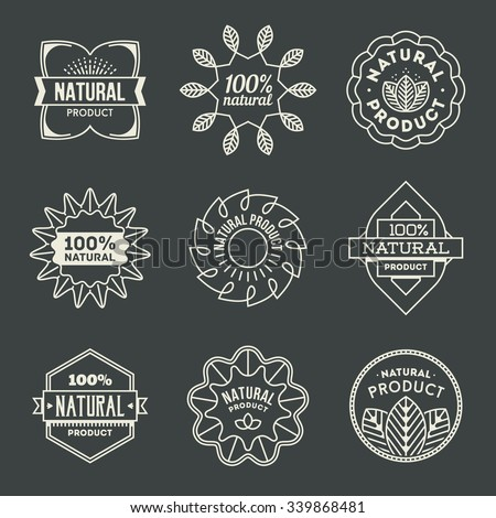 Natural Product Insignias Logotypes Set 1. Line Art Vector Elements. - stock vector