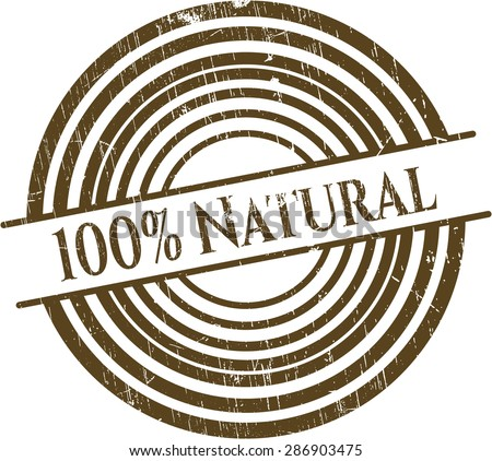 100% Natural rubber stamp - stock vector